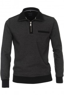 CASAMODA Sweat modern fit Troyer mit Zip Struktur anthrazit