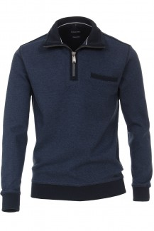 CASAMODA Sweat modern fit Troyer mit Zip Struktur jeansblau