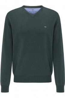 FYNCH-HATTON Strick casual fit Pullover V-Auschnitt Superfine 3Ply Baumwolle emerald