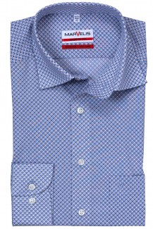 Marvelis modern fit Hemd 69er-Arm Under Button-Down Digital Muster bleu-braun
