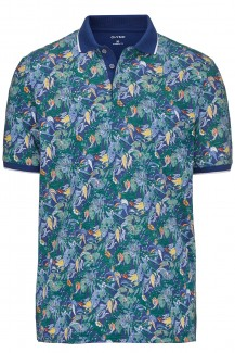 OLYMP Polo modern fit  Jersey Holiday Print cobalt-orange