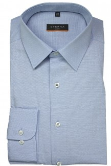 Eterna Hemd 72er-Arm slim fit Stretch Modern Kent gemustert bleu