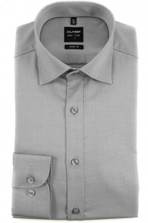 OLYMP Level Five body fit Hemd Under Button-Down Natté silber