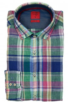 OLYMP Level Five Casual body fit Hemd Button-Down Leinen Karo bunt