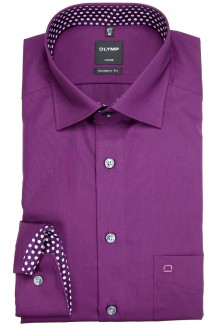 OLYMP Luxor modern fit Hemd Under Button-Down Patch plum