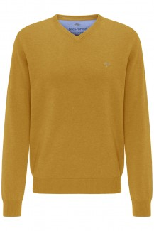 FYNCH-HATTON Strick casual fit Pullover V-Auschnitt Superfine 3Ply Baumwolle mustard