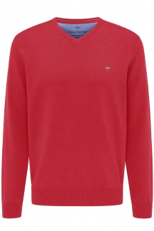FYNCH-HATTON Strick casual fit Pullover V-Auschnitt Superfine 3Ply Baumwolle hibiscus