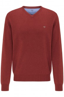 FYNCH-HATTON Strick casual fit Pullover V-Auschnitt Superfine 3Ply Baumwolle terracotta