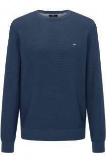 FYNCH-HATTON Strick casual fit Pullover Rundhals Struktur superfine Baumwolle wave