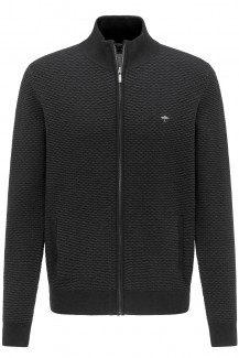 FYNCH-HATTON Strick casual fit Zip Cardigan Treppenstruktur carcoal-ashgrey