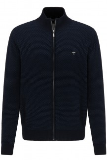 FYNCH-HATTON Strick casual fit Zip Cardigan Treppenstruktur navy-night