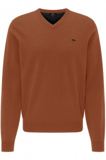 FYNCH-HATTON Strick casual fit Pullover V-Auschnitt Lamswool toscana
