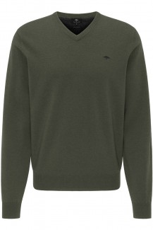 FYNCH-HATTON Strick casual fit Pullover V-Auschnitt Lamswool pesto