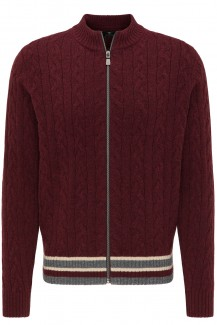 FYNCH-HATTON Strick casual fit Zip Cardigan Zopfmuster merlot
