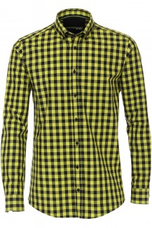 Venti Sneakershirt modern fit Button-Down Karo neongelb-schwarz