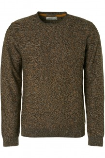 NO EXCESS Strick modern fit Pullover Rundhals Multi-Colour Organic grey-bronze