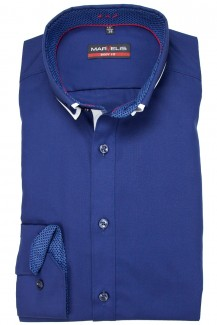 Marvelis body fit Hemd 69er-Arm Doppelkragen Button-Down marine