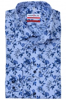 Marvelis modern fit Hemd 69er-Arm New York Kent Struktur Blumen bleu-royal