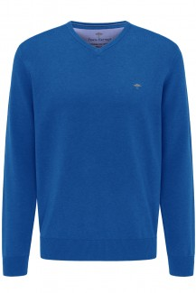 FYNCH-HATTON Strick casual fit Pullover V-Auschnitt Superfine 3Ply Baumwolle ultramarine
