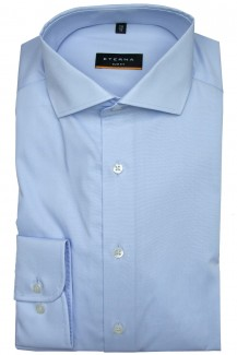 Eterna Hemd slim fit Stretch Global Kent Chambray bleu