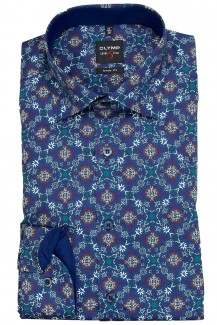 OLYMP Level Five body fit Hemd Under Button-Down Ornament Druck blau-nautik