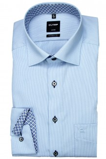 OLYMP Luxor modern fit Hemd 69er-Arm Under Button-Down Cotelé bleu