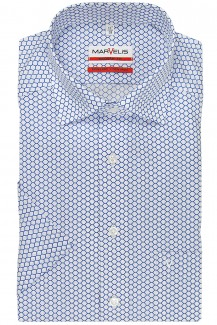 Marvelis modern fit Kurzarm Hemd Under Button-Down Kreise royal-weiß
