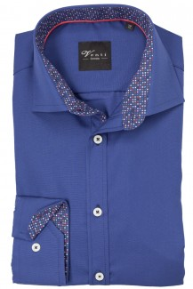 Venti Hemd 72er-Arm slim fit Global Kent Pixel Patch indigo blau