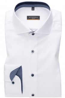 Eterna Cover Shirt slim fit Haifisch Striche Patch weiß