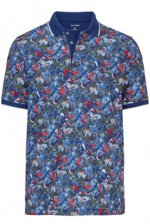 OLYMP Polo modern fit  Jersey Holiday Print cobalt-rot