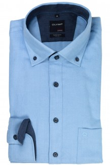 OLYMP Casual modern fit Hemd Button-Down Flanell Fischgrat bleu