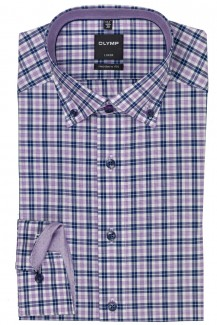 OLYMP Luxor modern fit Hemd Button-Down Karo flieder-weiß