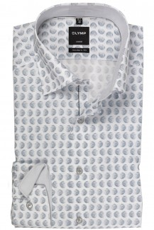 OLYMP Luxor modern fit Hemd Under Button-Down Kreise hellgrau-weiß