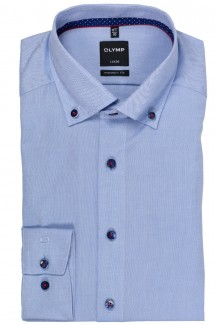 OLYMP Luxor modern fit Hemd Button-Down Fein Oxford mittelblau