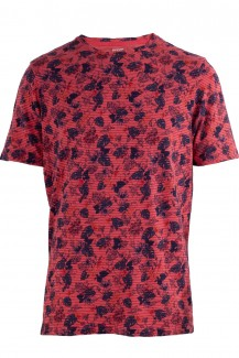 OLYMP T-Shirt modern fit Rundhals Tropical granat