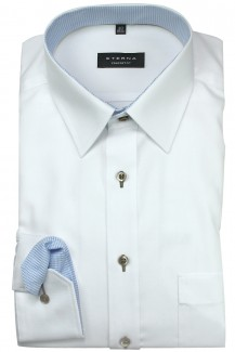 Eterna Hemd comfort fit Modern Kent Oxford Hahnentritt Patch weiß