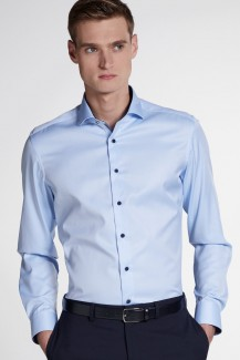 Eterna Cover Shirt slim fit Haifisch Striche Patch hellblau