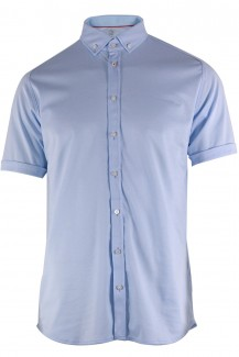 DESOTO Jersey Kurzarm Hemd body fit Button-Down bleu