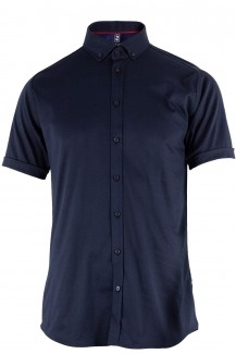 DESOTO Jersey Kurzarm Hemd body fit Button-Down marine