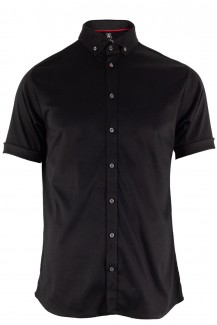 DESOTO Jersey Kurzarm Hemd body fit Button-Down schwarz