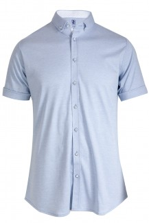 DESOTO Jersey Kurzarm Hemd Modern Button-Down Patch bleu