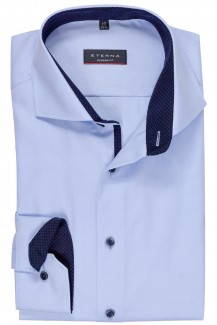 Eterna Cover Shirt modern fit Haifisch mit Patch bleu