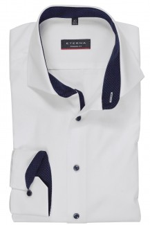 Eterna Cover Shirt modern fit Haifisch mit Patch weiß