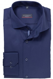 Eterna Cover Shirt modern fit Haifisch Piping nachtblau