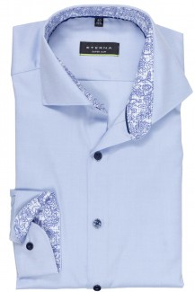 Eterna Cover Shirt super slim Haifisch Karo Patch bleu