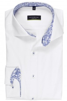 Eterna Cover Shirt super slim Haifisch Karo Patch weiß