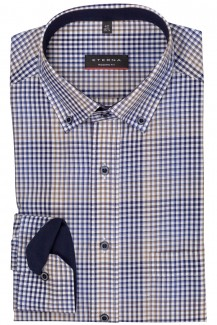 Eterna Hemd 59er-Arm modern fit Button Down Karo camel-marine