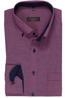 Eterna Hemd 59er-Arm modern fit Button-Down Vichy Karo aubergine-marine