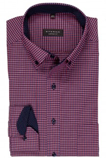 Eterna Hemd 68er-Arm comfort fit Button-Down Vichy Karo aubergine-marine