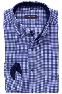Eterna Hemd 68er-Arm modern fit Button-Down Vichy Karo marine-weiß